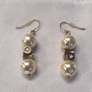 Jcrew gold, pearl and crystal earrings